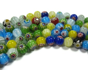 50 Flower Millefiori Round Beads 10mm in Assorted Colors