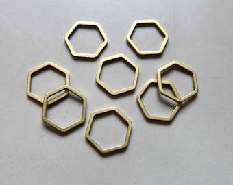 100pcs Raw Brass Hexagon Rings, Findings 12mm - F178
