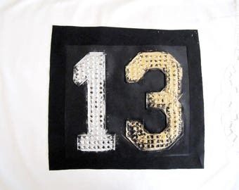 Bad Luck 13 Patch, Relief Letter,Gold and Silver 13 Applique,Ominous 13, Hot Press Patch