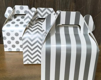 Silver Chevron, Stripe and Polka Dot Wedding Gable Boxes- Treat or Favor Box, Gift Box - 36 Ct.