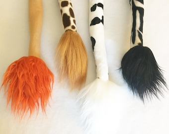 Safari Costume Tail with fur tip cow tail giraffe tail zebra tail lion tail lion costume zebra costume giraffe costume cow costume
