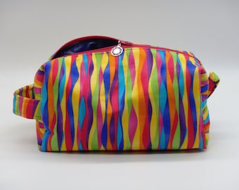 Rainbow Pouch, Striped Ditty Bag, Dopp Kit, Travel Bag, Toiletry Bag, Pencil Case, Makeup Bag, Zip Pouch, Easter Gifts, Springtime Toy Bag