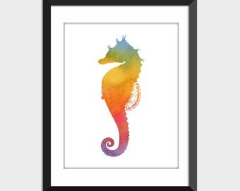 Colorful Seahorse Wall Art Print Coastal Decor, Watercolor Printable Art, Bathroom Decor Instant Digital Download