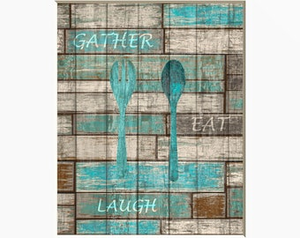 Teal Brown Rustic Kitchen Dinning Room Farmhouse Wall Art Home Decor Matted  Picture