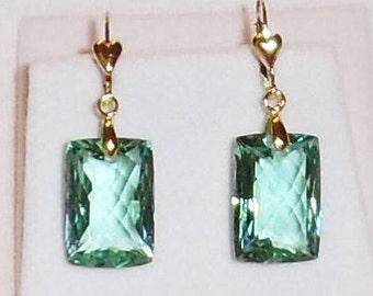 Green Amethyst Earrings 37cts Natural Octagon Green Amethyst gemstones, 14kt gold Heart Leverback Earrings