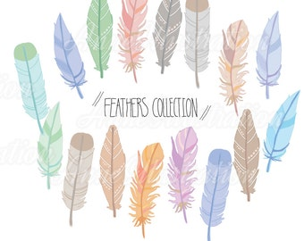 Feathers Clipart,Tribal feathers Clipart,Personal & Commercial use,Vector, Instant download_CA10