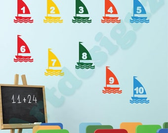 SAIL BOAT Numbers 1 to 10 Nautical Maritime Ocean Sea Learning Educational Girls Boys Bedroom Nursery Vinyl Wall Art Sticker Decal Transfer