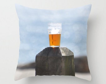Beer Photo Throw Pillow, Gift for Guys, Beach Party Photo, Ocean Bar Picture Pillow, Male Office Decor, Blue Ocean View, Beach House Decor