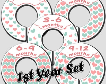 Baby Girl Closet Dividers in Pink and Mint Green Heart Design: for infants, toddlers, children, clothing organizer, plastic