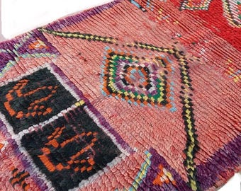 Vintage Moroccan rug berber rug Vintage moroccan Azilal tribal berber runner rug Boucherouite rug beni ourain rug boho rug African rug