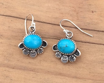 E03 Southwestern Native Style Turquoise and Sterling Silver Earring