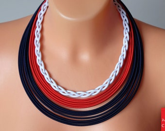 Nautical blue red necklace, Braided navy necklace, Rope navy necklace, Multistrand nautical necklace, Fabric necklace