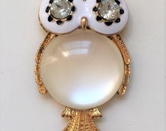 large new stock enameled gold tone metal and rhinestone owl pendant with moonstone center