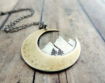 Crescent Moon Mountain Necklace - Nature Jewelry - Celestial Jewelry - Mixed Metal Necklace - Gift for Outdoor Woman