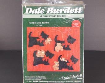 Vintage Dale Burdett Scotties and Teddies Christmas Ornaments Felt Kit 1985 FK416 Dogs