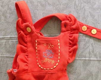 Toddler Girls' Romper, 70s Embroidered Bib Overalls, Orange Ruffled Longall, Hearts & Bears, Vintage Sears, 12 - 18 M
