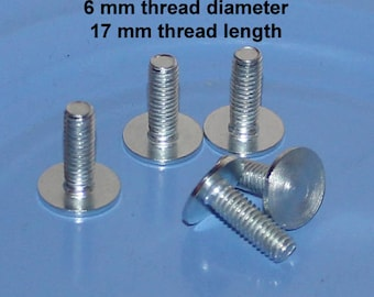 Flat head bolts, 6 mm screws, 17 mm  length, Cake stand supply, bolt screw for DIY tiered dessert stands , metric screw,
