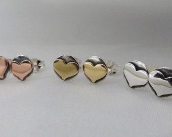 Sterling Silver Heart Stud Earrings, sterling studs, sterling silver stud earrings, heart earrings, heart ear studs, silver heart earrings