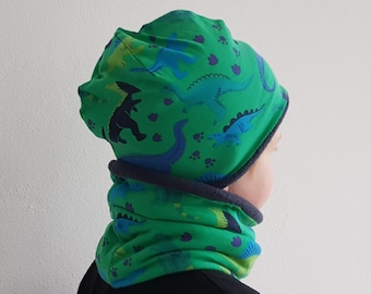 Hat and neck warmer kids, dinosaur pattern
