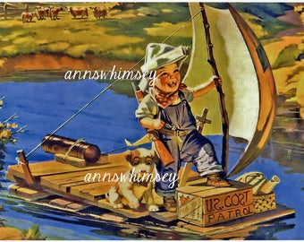 Boy's Room Art Print ~ Boy and Dog Art Print The Pirate's Life for Us  #414