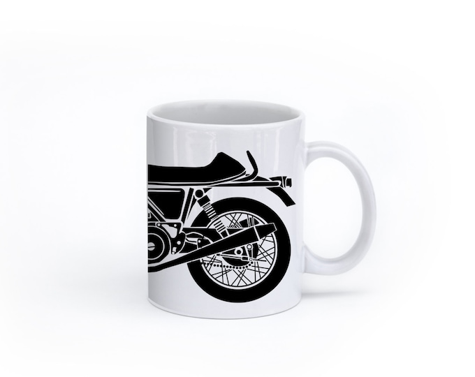 KillerBeeMoto:  U.S. Made Coffee Mug Limited Release British Engineered 750cc Cafe Racer Motorcycle Mug (White)
