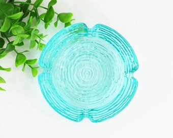 Mid Century Modern Aqua Blue Glass Ashtray / Small Anchor Hocking Soreno Ashtray / Vintage Aquamarine Glass Ashtray