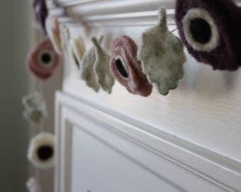 DIY Felted Wool Anemone Flower Garland Kit, DIY Felting Kit
