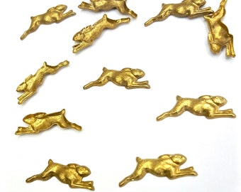 20 Pieces Jumping Rabbit, Raw Brass, Hollow Back, Right Facing Only, 22x8mm