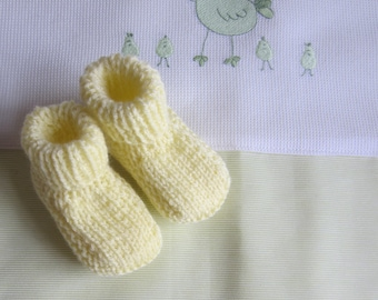 Yellow newborn - hand made knitted baby booties