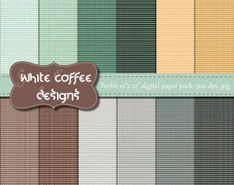 Linen digital paper, linen background, linen texture, in teal, gray, peach and brown, autumn, fall, premade pages, craft supplies
