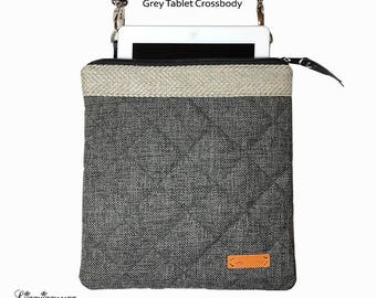 Grey Padded Cross Body Tablet bag