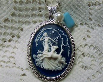 Goddess Cameo Necklace - Diana Pendant - Artemis - Huntress - Goddess of the Hunt - Forest - Woodland Wedding - Nature - Navy Blue and White
