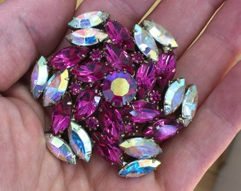 Vintage Large Dark Pink and Iridescent Stone Brooch