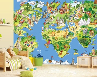 World map wall mural wallpaper wall dcor wall decal children world map wall mural wallpaper wall dcor wall decal nursery and gumiabroncs Image collections
