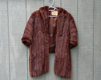 Vintage Mink Cape Fur Stole Wrap Capelet Chocolate Brown