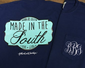 Made in the South Shirt - Monogram Made in South Shirt - Monogram Comfort Colors Shirt - Monogrammed Comfort Color Shirt - Monogram tee