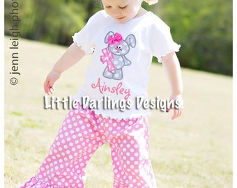 Adorable Girls Bunny with Cross Appliqued and Monogrammed Easter Shirt