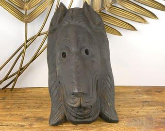 Lion mask carved wood - Lion Wooden mask