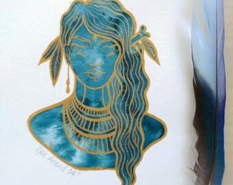 MEDITATION Original Ink and Gold Gouache Illustration 5.6 x 8 inch Original piece of Art