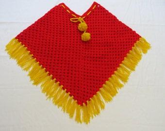 Poncho, Toddler Poncho, Red Yellow Poncho, Crochet Poncho, Crochet Fringed Poncho, Crochet Child Poncho, Crochet Granny Poncho,Crochet Shawl