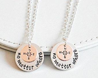 Long distance friendship, Best friend necklace set , no matter where set, friendship necklace set , friends gift set, set of 2 3 4 5 6 7 8