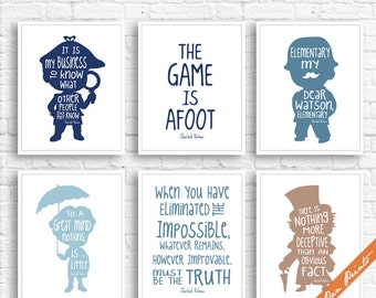 Sherlock Holmes Quote - Set of 6 Art Print (Unframed) (Featured in Navy, Blue Jeans, Powder, Latte) Boys / Girls Room Decor