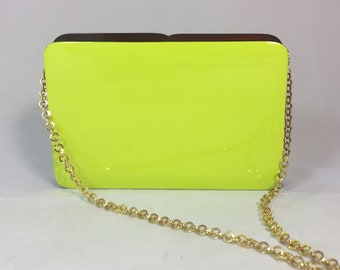 New Handmade Lime Green Rectangular Minaudière Clutch Shoulder bag with Brown Accent