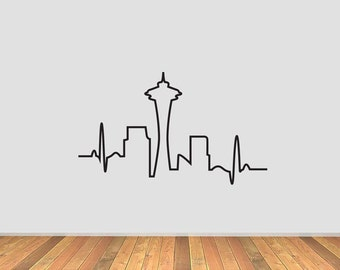 Seattle Skyline Heartbeat Vinyl Decal