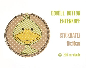 Embroidery - duck - Doodle button 10 x 10