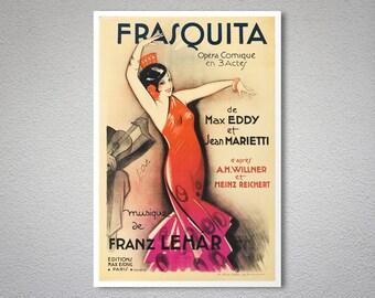 Frasquita Musique de Franzk Lehar Vintage Entertainment Poster - Poster Paper, Sticker, Canvas Print