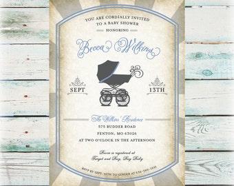 Printable Vintage Baby Buggie Baby Shower Invitation - Digital File
