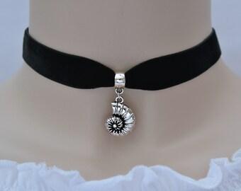 AMMONITES FOSSIL Black Velvet Choker, 30 Ribbon Colours, 16mm Wide