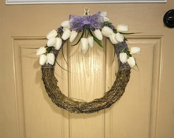 Tulips and Purple Ribbon Easter Wreath