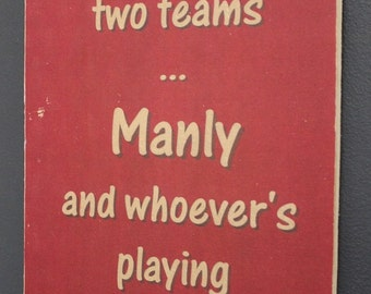 Manly Sea Eagles versus Souths Rugby League Footy Football Sign Bar Pub Man Cave